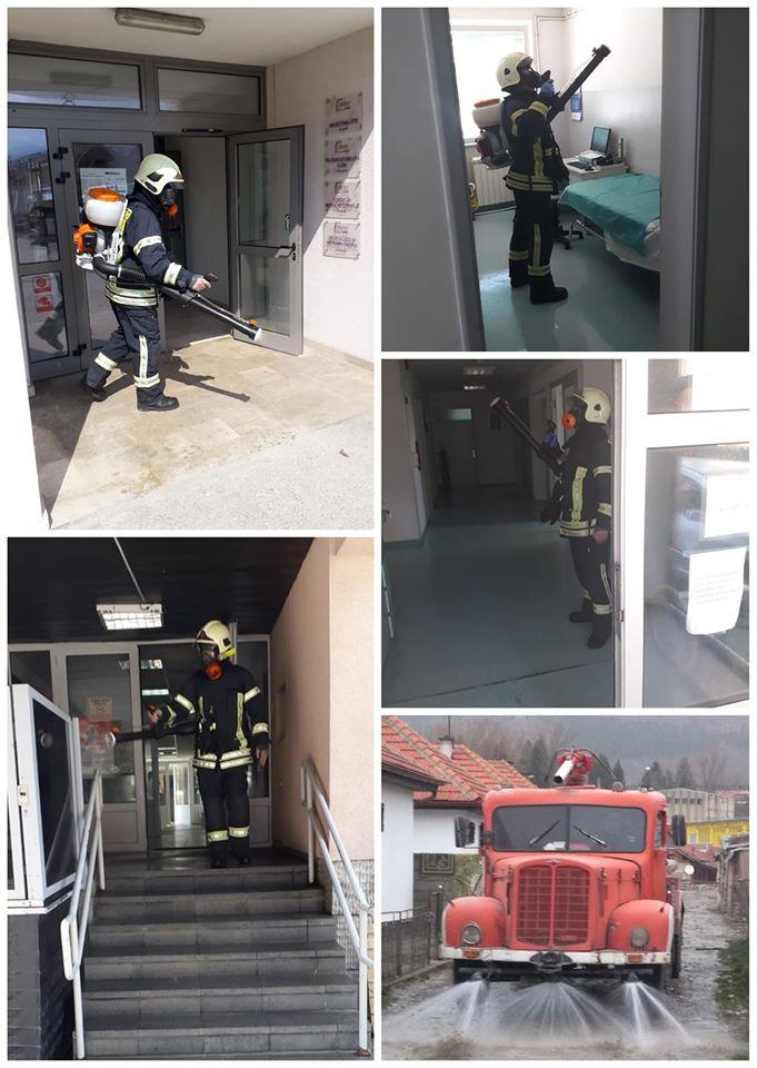 Завршена дезинфекција здравствених установа, у току дезинфекција  стамбених зграда, насатвљено чишћење и прање улица