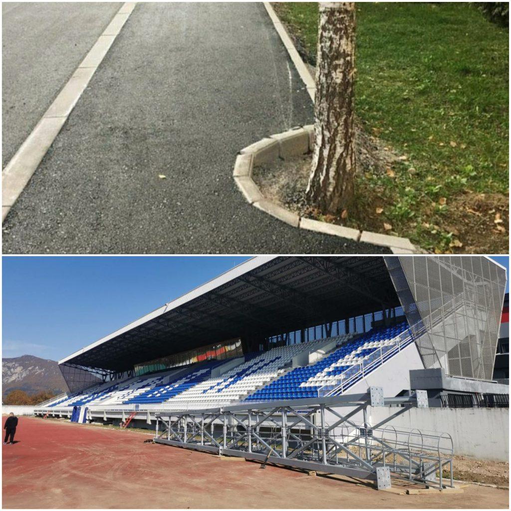 Завршени тротоари у Ђачкој улици, постављање расвјете на фудбалском стадиону у току